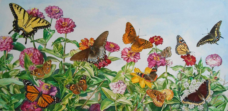 butterflies fluttering above flowers