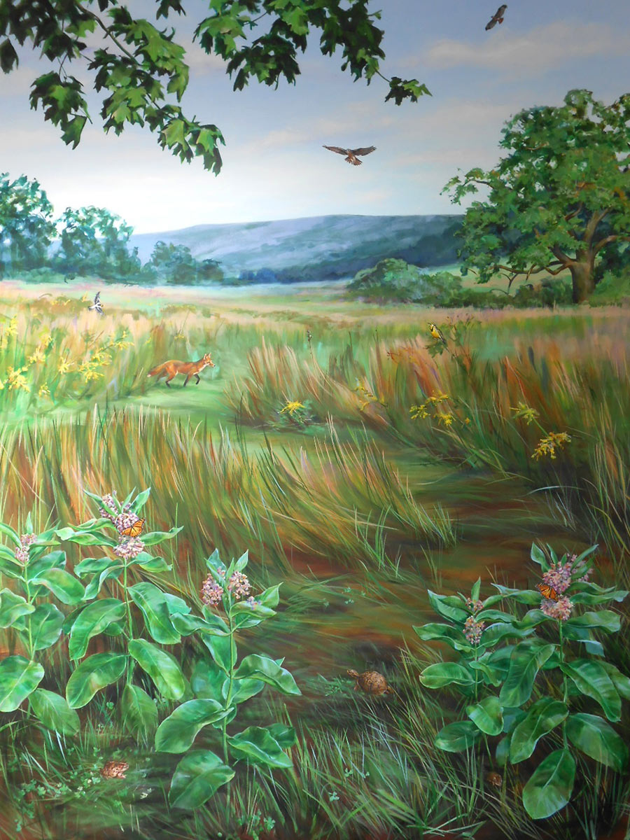 grassland mural with flora and fauna