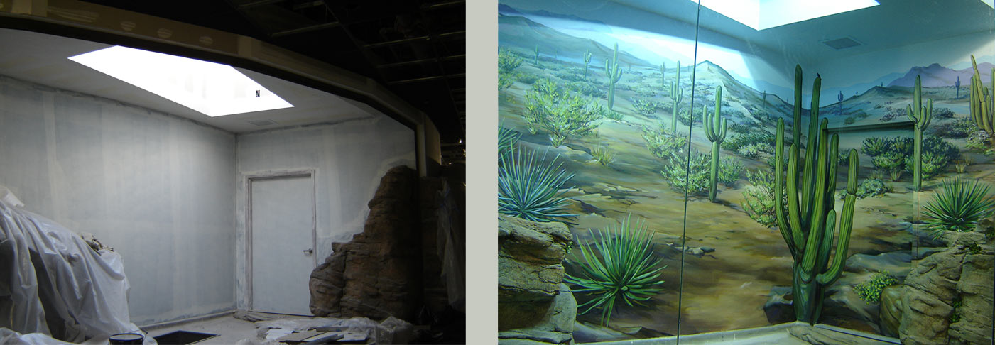 Before/after shots of Sonoran Desert Mural