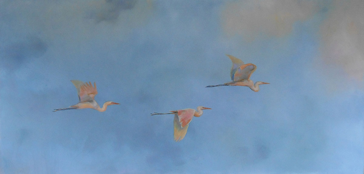 three herons flying in a cloudy sky