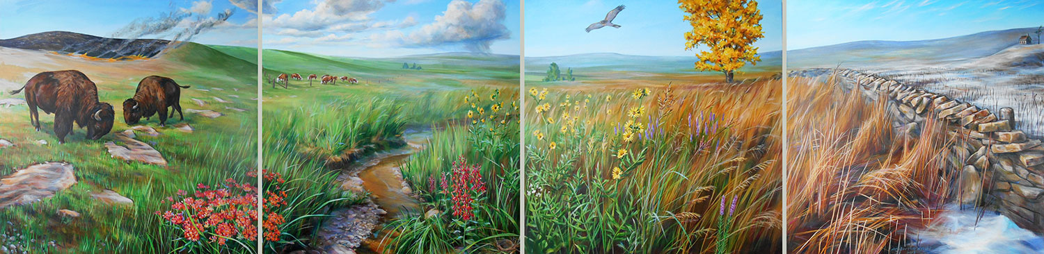 four paneled mural depicting prairie flora and fauna during the seasons of the year